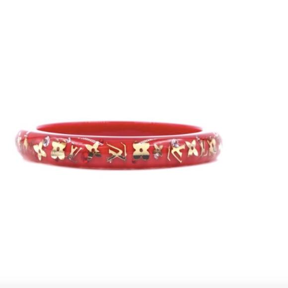 Louis Vuitton Jewelry - Gold Red Monogram Inclusion Flowers Logo Bracelet